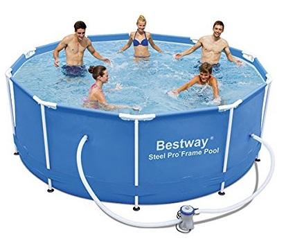 piscina desmontable natación bestway steel pro redonda tubular con depuradora